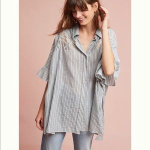 Anthropologie oversized stripe button down top